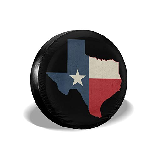 (MXPINK Texas Vintage Map Flag Spare Tire Cover, Universal Fit for Jeep,Trailer, RV, SUV, Truck and Many Vehicle, Diameter 14