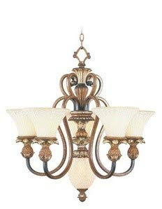 Livex Lighting 8485-57 Chandelier with Vintage Carved Scavo Glass Shades, Venetian Patina