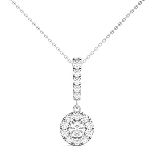 Pendant Circle Multi Diamond - Diamond Studs Forever 14K White Gold Diamond Halo Stick Pendant (1/2 Ct tw, IGI USA Certified GH/I1)