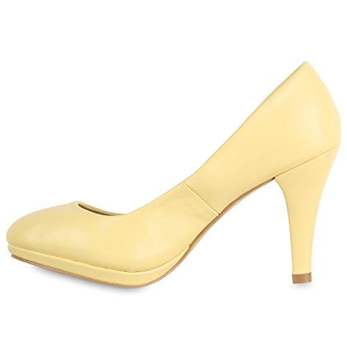 Stiefelparadies Klassische Damen Pumps Stiletto High Heels Leder-Optik Schuhe Flandell Gelb