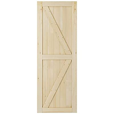 SmartStandard 30in x 84in Sliding Barn Wood Door Pre-Drilled Ready to Assemble, DIY Unfinished Solid Cypress Wood Panelled Slab, Interior Single Door Only, Natural, K-Frame, (Fit 5FT Rail)