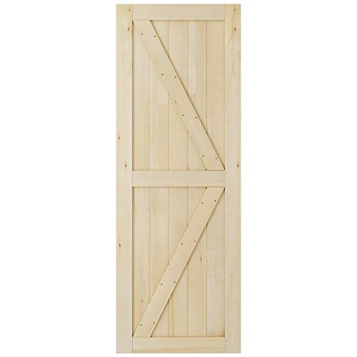 SmartStandard 30in x 84in Sliding Barn Wood Door Pre-Drilled Ready to Assemble, DIY Unfinished Solid Cypress Wood Panelled Slab, Interior Single Door Only, Natural, ()