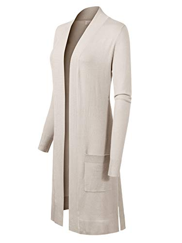 White Sweater Cardigan Off (Instar Mode Women's Solid Soft Stretch Long-Line Long Sleeve Cardigan [S-XL] Ivory M)