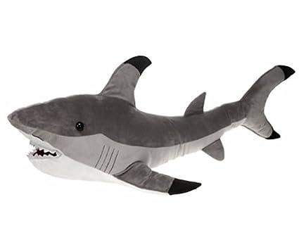 Amazon Com Gray Shark Plush Stuffed Animal Toy By Fiesta Toys 12