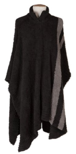 Barefoot Dreams Womens Striped Poncho, Color: Midnight-Charcoal
