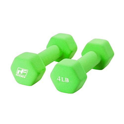 RitFit Set of 2 Neoprene Coated Dumbbells with Non-Slip Grip, 2 lb-20 lb Color Coded Hex Shaped Hand Weights Pair for…