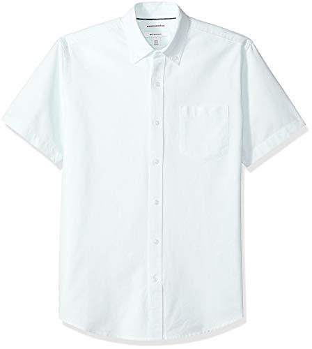 Amazon Essentials Men's Regular-Fit Short-Sleeve Pocket Oxford Shirt, Aqua Stripe, X-Large