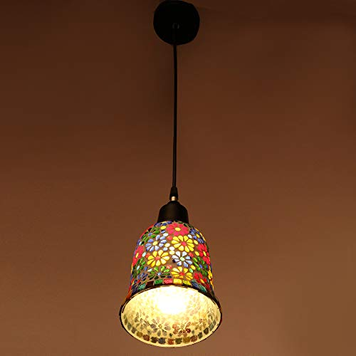 Somil Designer Pendent Hanging Ceiling Lamp Light with Black Cord, Glass, Round, Compatible with 5 to 60 Watt LED…