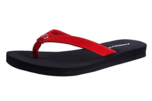 Flip-Flop for Women - Yoga Mat EVA Material Summer Beach Wide Slip Resistant Strong Comfort Thong Slide Sandals (US9, - Eva Red