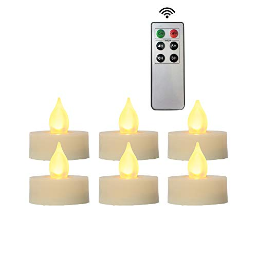 iZAN 6-Pack Flameless LED Battery Operated Tealight Candles with Remote and Timer Flickering Electric Tea Lights for Christmas Home Party Wedding Decorations 1.5x1.6 Batteries Included