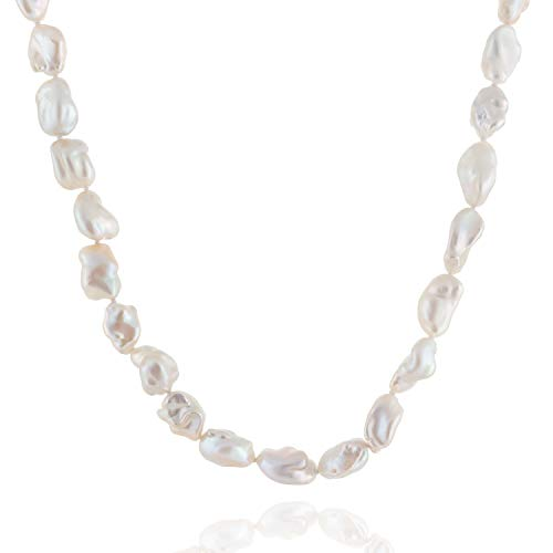 Handpicked A Quality 9-10mm White Keshi Cultured Pearl Strand Endless 36