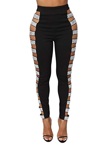 Cosygal Women's Side Hollow Out Sequin Leggings Pants Bling Tights Long Trousers Black X-Large ()