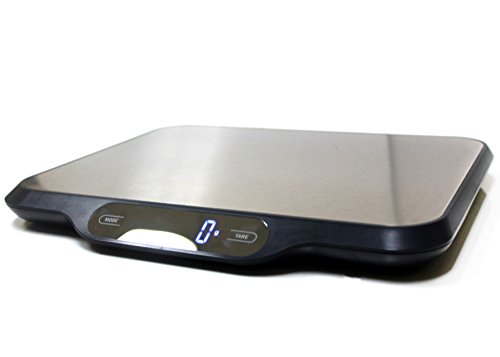 Sleek Touch Screen Blue LED Digital Kitchen ​and Office scale, Stainless Steel​ Ultra Thin and Wide ​​33 pound capacity