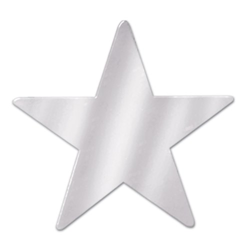 Beistle 57027-S Silver Metallic Star Cutouts, 3-1/2 Inch, 12 Pieces Per Package