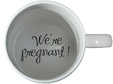 We're Pregnant Coffee Mug, pregnancy reveal, Pregnancy Announcement, Father, Grandmother, Bottom mug, hidden message, secret message, Funny, Cool, Coffe cup