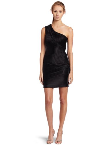 BCBGMAXAZRIA Women's Eden One-Shoulder Cocktail Dress, Black, 8