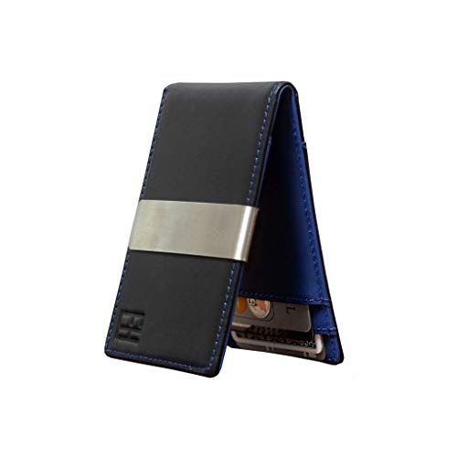 F&H Minimalist Slim Leather Wallet Money Clip Holds 8 Cards (Smooth Black/Blue)