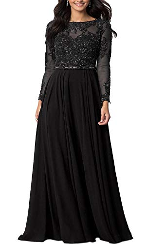 Aofur Womens Long Sleeve Chiffon Party Evening Dress Formal Wedding Prom Cocktail Ladies Lace Maxi Dresses