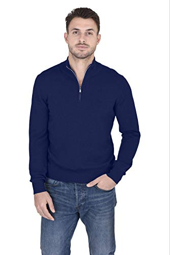 (Cashmeren Men's 100% Pure Cashmere Classic Knit Soft Half Zip Mock Neck Pullover Sweater (Navy, Large))