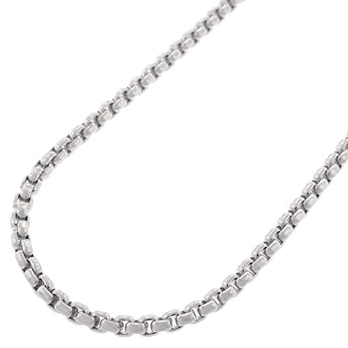 14K White Gold 2.5mm Round Box Link Necklace Chain 16