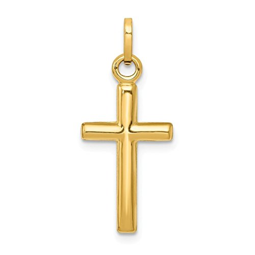 (14k Yellow Gold Cross Religious Pendant Charm Necklace Latin Fine Jewelry For Women Gift Set)
