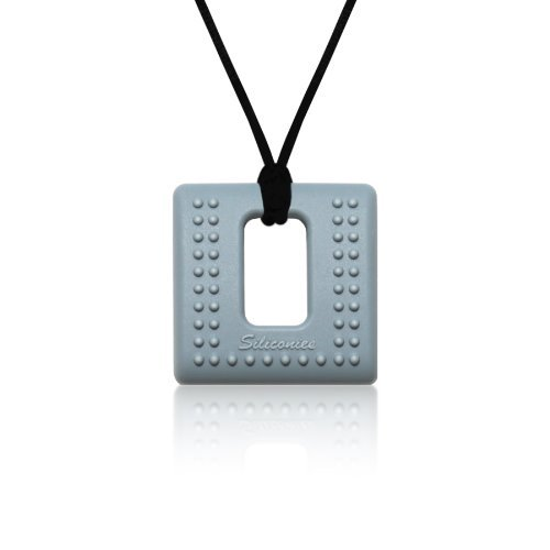 Silver Grey Family Bedrock Teething//Nursing//Sensory Siliconies Square Pendant
