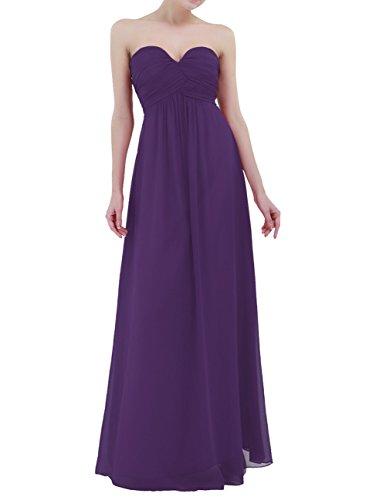 Freebily Vestido Largo Elegante Mujer Chica para Fiesta Cóctel Graduación Boda Vestido de Noche Morado