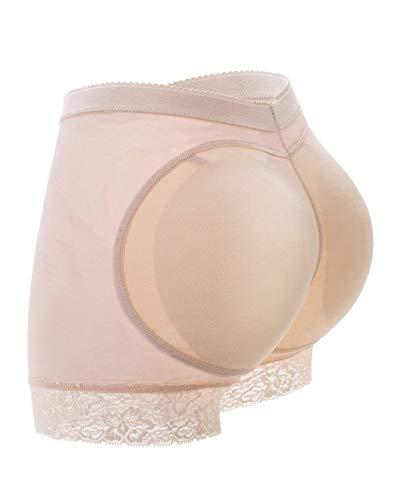 FUT Womens Seamless Butt Lifter Padded Lace Panties Hip Enhancer Underwear Shapewear Boyshort, Beige-padded Lace Panties, Large