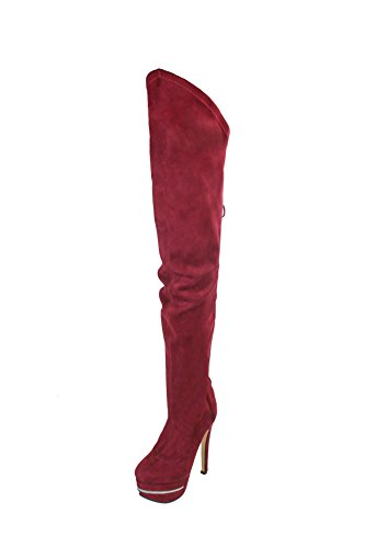 Kolnoo Damen BFCM Sexy Zeichen Stiefel High Heel Plattform Party Prom Winter Schuhe Rot