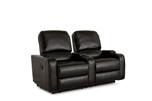 Klaussner Twilight Home Theater Seating Manual Reclinable Bonded Leather  Row Of 2 With Storage And Cupholders