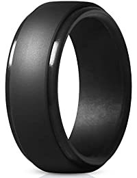 Silicone Rings for Men - 7 Rings / 4 Rings / 1 Ring Step Edge Rubber Wedding Bands 10mm Wide - 2.5mm Thick