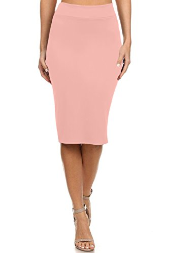 Simlu Womens Below the Knee Pencil Skirt for Office Wear - Made in USA, Rosewood, Medium,Blush (Rosewood Blush)