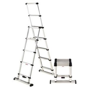 Telesteps 12ES OSHA Compliant 12 ft Reach Professional Wide Step Telescoping A-frame Ladder Telescoping A-frame Ladder