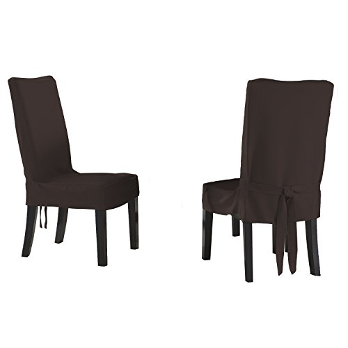 Polyester Suede Chair (Serta Relaxed Fit Smooth Suede Furniture Slipcover for Short Dining Chair, Chocolate)
