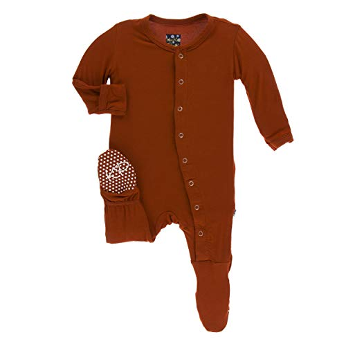 Kickee Pants Solid Footie with Snaps (Red Tea - Newborn) (Snap Pajama Pant)