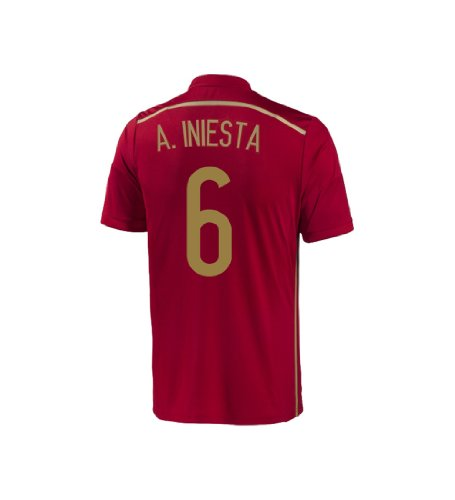 Adidas A. INIESTA #6 Spain Home Jersey World Cup 2014 YOUTH (YS)