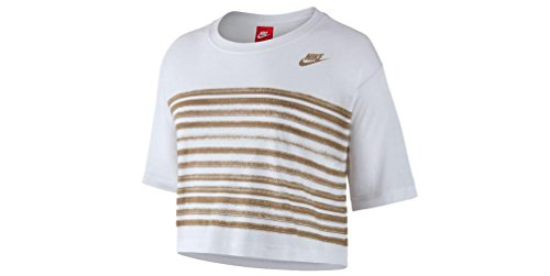 Nike Crop Top (Nike Sportswear Stripped Crop Top White/Oatmeal (Womens) (L))