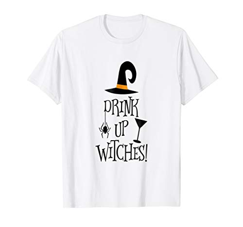 Halloween Shirt Funny Witch Drink Up Witches Drunk Wine Beer