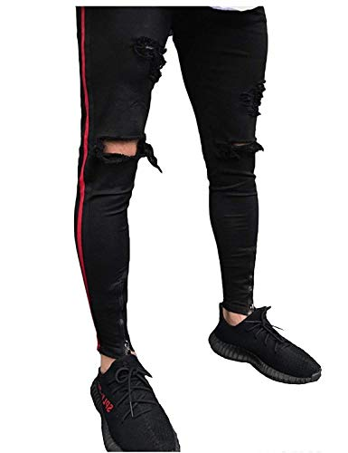 Strappati Nero Comodi Pantaloni Holes Uomo Casual Jeans Denim Fit Closure Stretch Da Skinny Slim O0Pq64O
