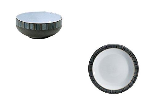 Denby Jet Stripes - Denby Jet Stripes Rice Bowl and Tea Plate, Set of 2