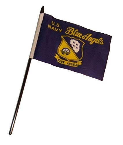 Ant Enterprise Pack of 12 (Dozen) U.S. Navy Blue Angels Military Service Miniature Desk & Table Flags Includes 12 Polyester Small Mini Military Stick Flags (4
