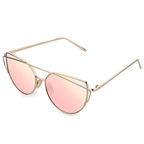 Igood Women Fashion Metal Frame Mirror Sunglasses Cat Eye Mirrored Flat Lenes