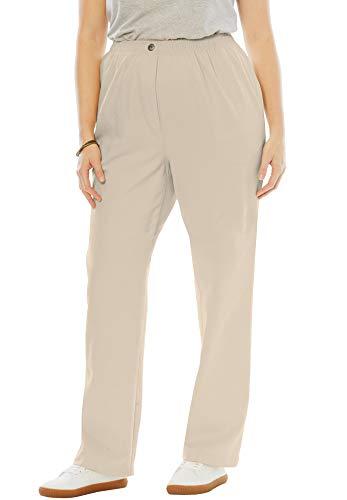 Woman Within Women's Plus Size Petite Elastic-Waist Cotton Straight Leg Pant - Natural Khaki, 30 WP ()