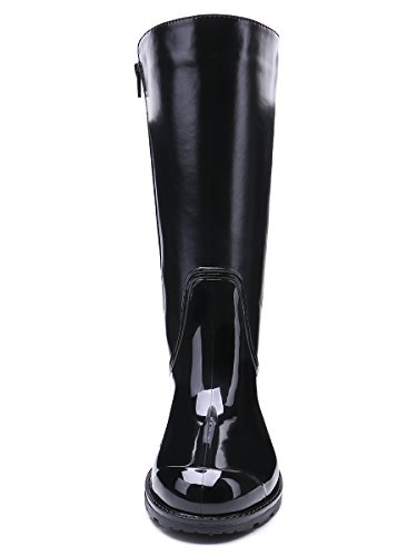 TONGPU Women's Classic Design Wellies Wellington Zip Black-Black Rain Boots Black-Black fYxZx