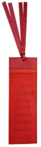 Lux Leather Inspirational Bookmark with Ribbon Tassel and Inspirational Inscription: I can do everything through Christ who gives me strength. Philippians ()