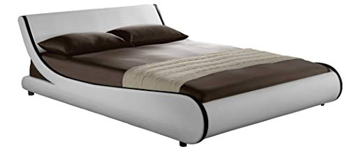 Modern Contemporary Wave-Like Curve Upholstered Platform Bed Low Profile Naples (White+Black Strip, Queen)