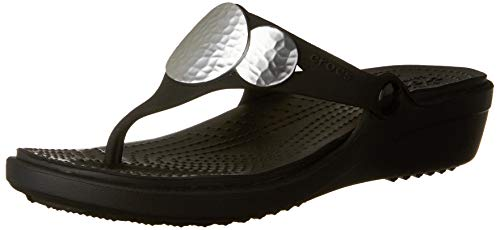 crocs Women's Sanrah Embellished Flip Wedge , Black/Silver M