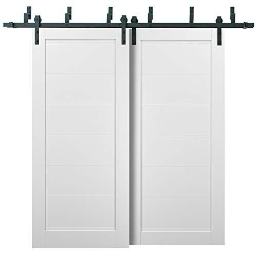 Barn Bypass Doors 84 x 96 with 6.6ft Hardware | Quadro 4115 White Silk | Sturdy Heavy Duty Rails Kit Steel Set | Double…
