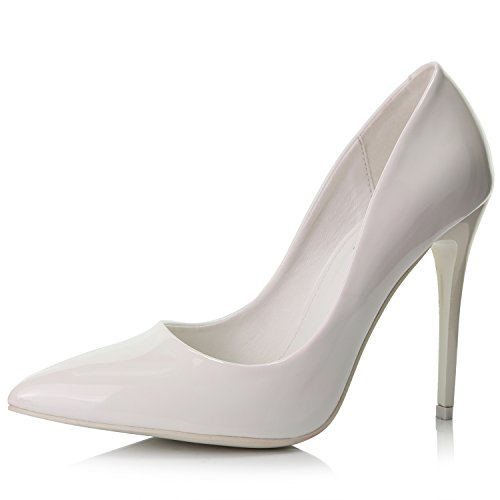 DailyShoes Women's Paris-01 Stiletto Pumps High Heel Stilettos Closed Pointy Toe Fashion Thin Short Non Slip Wedding Pointed Dress Pump Shoes White Pt 8.5