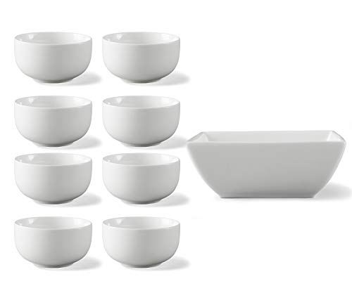 Better Homes & Gardens Small Coupe Bowl|White|Set of 8 bundle with Better Homes & Gardens Porcelain Large Square Bowl|White - Garden Coupe Cereal Bowl